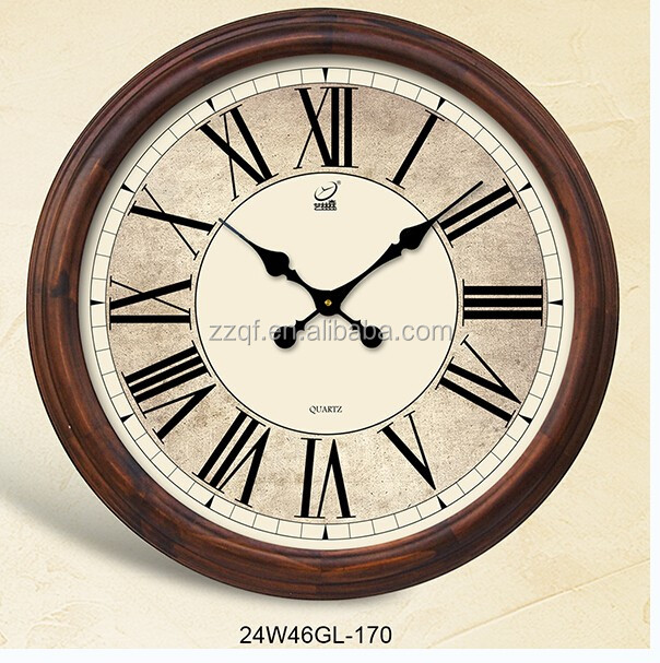 24 Inch Retro Style Wooden Wall Clock Big Clock Digital