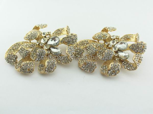 2014 hot sale rhinestone flower shoes accessories for decoration