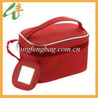 Womens red travel cosmetic vanity case with mirror