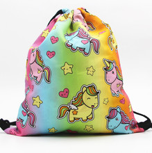 2018 Amazon hot sale Polyester Unicorn Drawstring Bag, wholesale 3D Printing Cute Unicorn Backpack