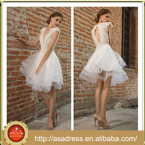 BIE-05 Simple Style Short Wedding Party Gown 2015 Sexy Organza Ball Gown Cap Sleeve See Through Corset wedding Dresses