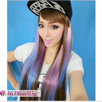 Cheap Fashion Heat Resistant Fiber Silk Straight Purple Ombre Synthetic Hair Two Tone Clip in Hair Extensions for White Women