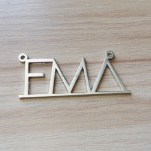 Custom logo silver color cut-outs name design metal pendants charm