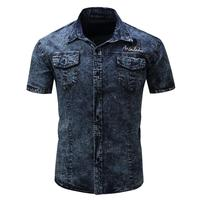 New European and American men's short-sleeved washed jeans shirt