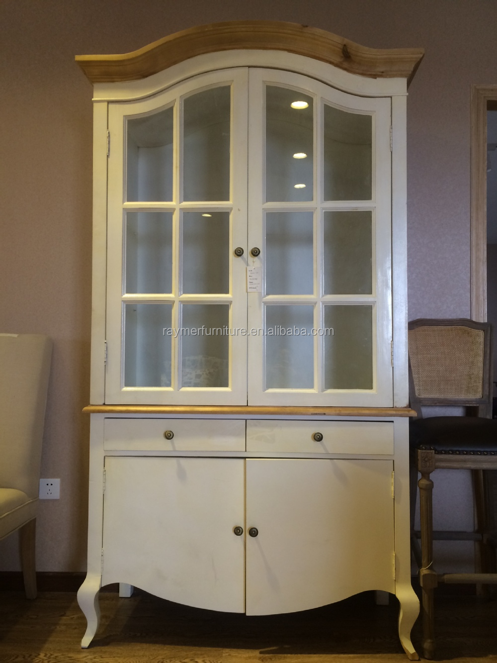 White washed oak furniture farmhouse rustic wood glass display cabinet