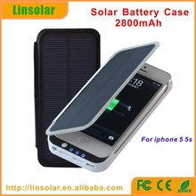 2014 phone accessories external leather battery cover solar power battery charger case for iphone 5 5s