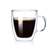 100% handmade double wall glass custom printed shape coffee mugs
