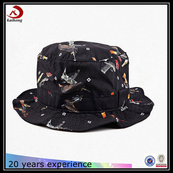 top quality string black printing custom cotton made plain floral bucket hat