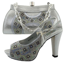 New designs silver italian shoes with matching bags for african party size38 to 42 Apr-19-2017