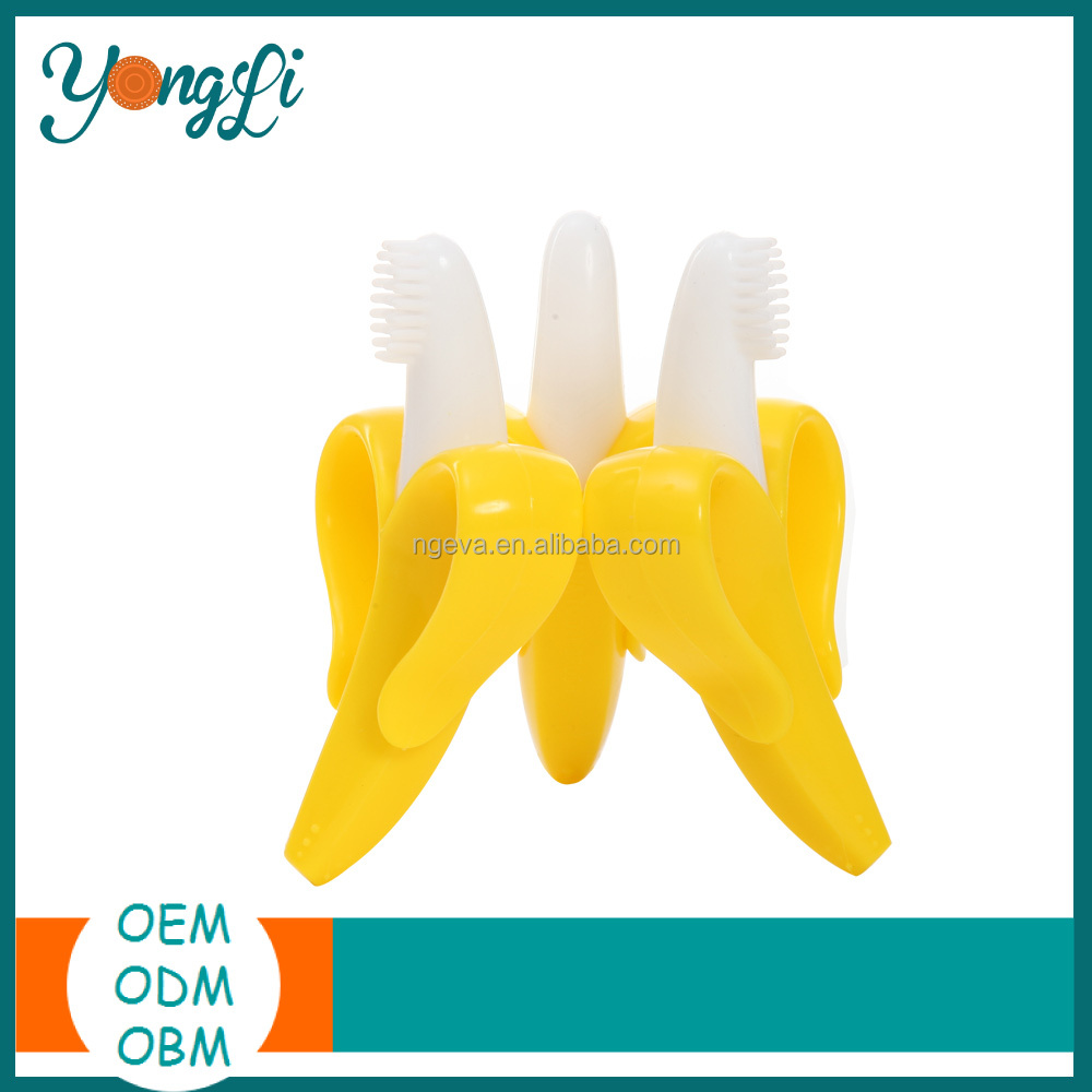 Wholesale Baby Teething Toys - BPA Free Baby Banana Toothbrush with Handles