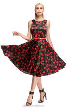 Women's belted dotted Rockabilly Swing 1950's Evening Party Dress with Belt/Women fashion Dress