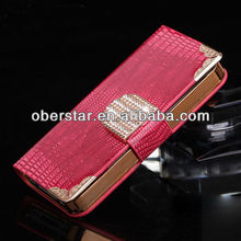 CRYSTAL DIAMOND MAGNETIC BLING LEATHER WALLET FLIP CASE FOR IPHONE5 5S