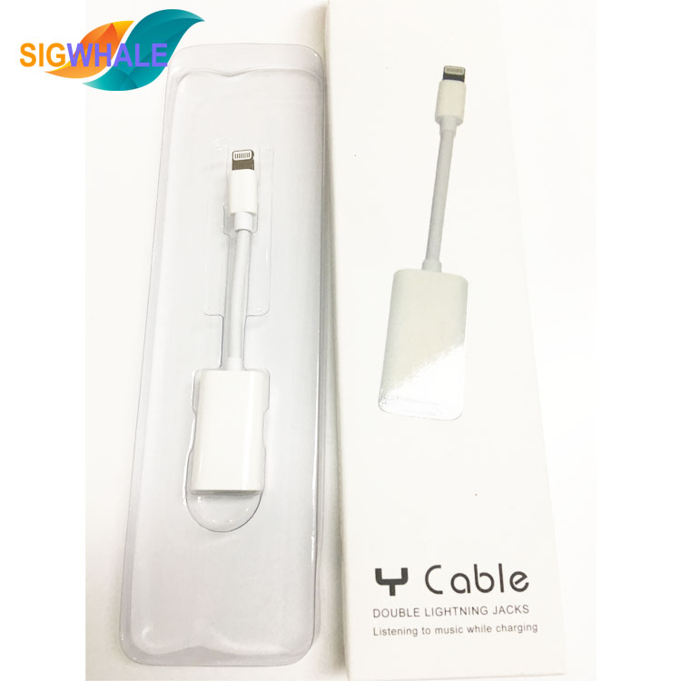 Y cable Dual Convertor 2 in <strong>1</strong> Audio Charger Adapter Cable For iPhone 7 7Plus IOS10.3