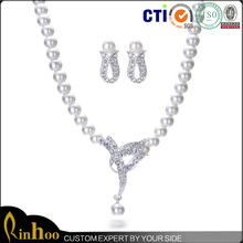 High Quality Fashion Imitation Pearl Jewelry Set Cheap Wholesale Necklace And Earring African BeadJewelry Sets For Bridal