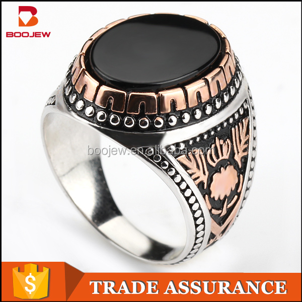 Latest designs without stone similar to Saudi Arabia national flag pattern gold plated 925 sterling silver rings for muslim men