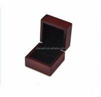 red wooden jewelry ring box black velvet fabric lining cheap factory direct sales W1186