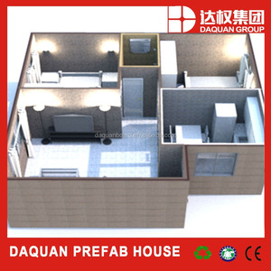 Wuhan daquan brand 2 bedroom prefabricated modular houses modern cheap prefab homes for sale with ce,iso