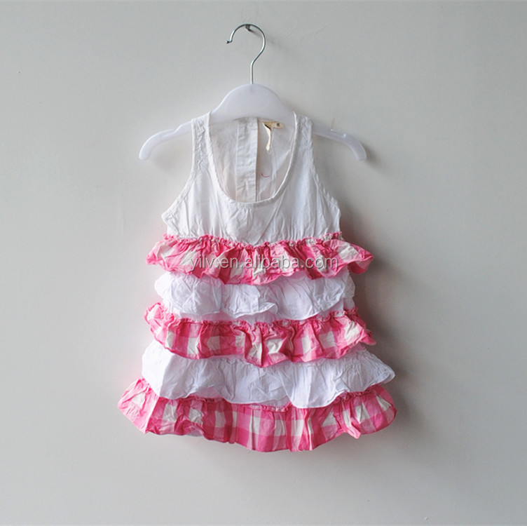 Wedding party girls dress designs teenage girls party wear baby frock designs layer ruffles for girls of 5-12 years old