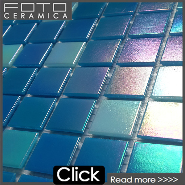 Blue recycled glass mosaic tile used in swimming pool