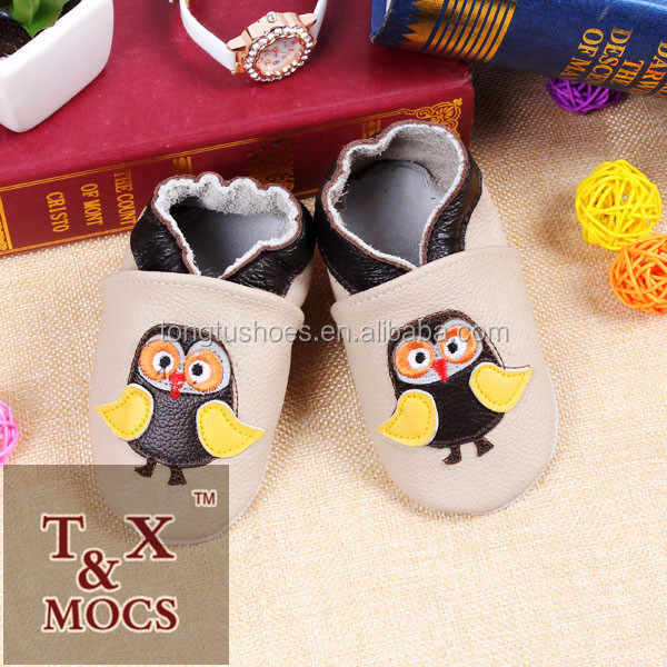 2015 Made In China owl animal design fashion leather toddler shoes for baby