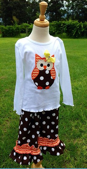 yowo wholesale carters baby clothes owl printed thailand clothing manufacturers brown polka dots baby boutique clothing sets