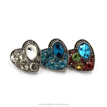 18MM Metal Heart Shaped Snap Button With Crystal Jewelry Wholesale