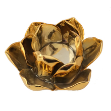 Votive Gold Ceramic Lotus Candle Holder