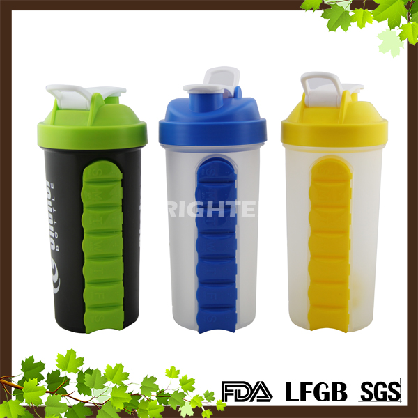 FDA LFGB PASSED Food Grade Plastic water bottle with pill box