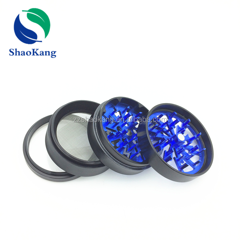 Custom blue lightning grinder herb with clear top best 4 piece herb grinder with OEM service