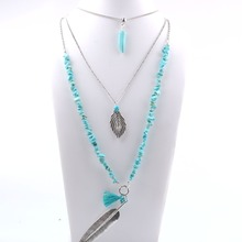 latest design multi layer irregular turquoise beads necklace set