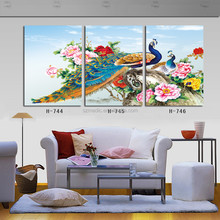 Peacock and Peony Flowers Art Gallery Paintings High Quality 3 Panel Canvas Wall Oil Painting Printed