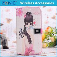 Stand Style Wallet Flip Cover Leather Case Cartoon Paiting Soft TPU Cover For Samsung S4/i9500