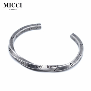 MICCI Wholesale custom fashion men's women retro jewelry 316L stainless steel antique silver bracelets bangles