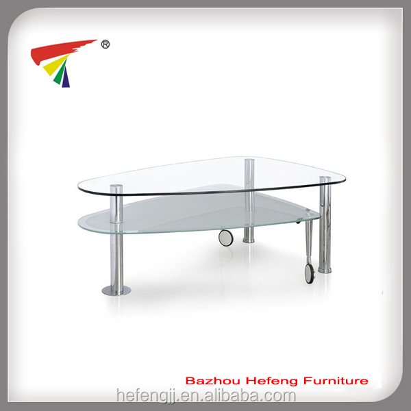 Extendable coffee table glass furniture with wheels