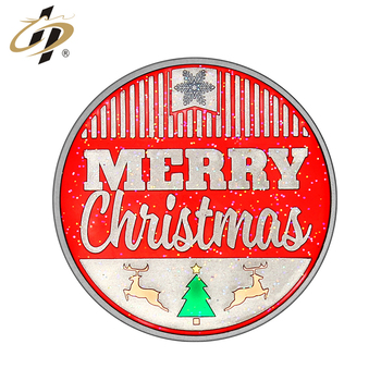 Marry Christmas enamel logo blank metal alloy coins for Christmas gift