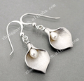Metal Alloy Calla Lily Pearl Earring Wholesale In Alibaba