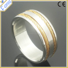 Stainless Steel Double Gold Braided Chain Inlay ring