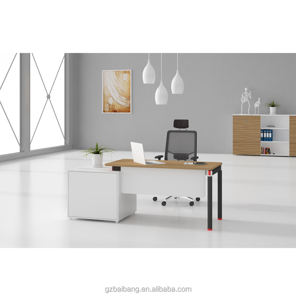 white color modular office furniture manager desk description