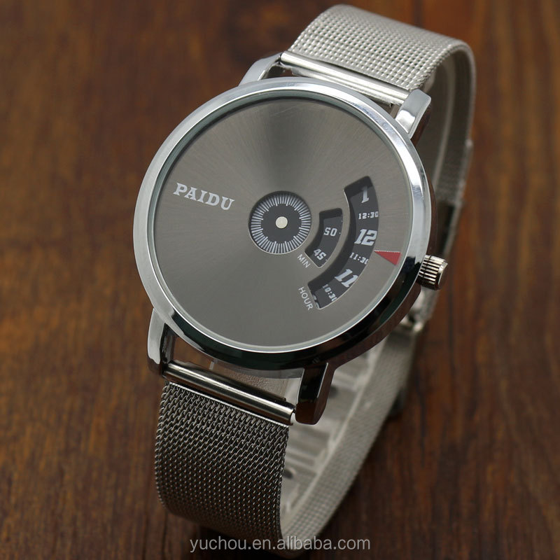 Luxury Stainless Steel Mesh Band PAIDU Mens Quartz Gift Watch