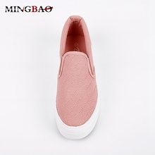 Plain Color Campus Casual Canvas lady loafers shoes