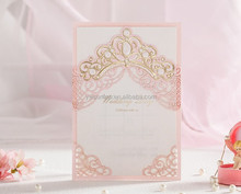 Creative 6072 Pink Royal Free Customized Laser Cut Wedding Invitation Card