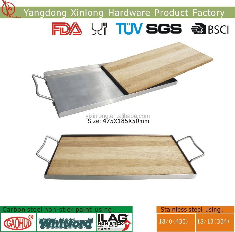 Stainless steel BBQ plank saver with oak wood plank