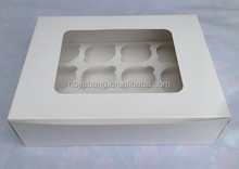 flat pack cardboard 12 holes cup cake boxes with window