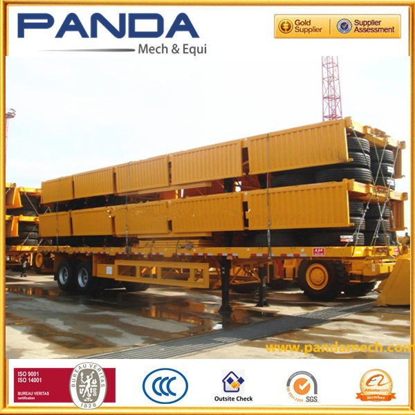 Pandamech 20 ft twins dual two axle carrier container flatbed semi trailer with 12 sets twist locks to transport container