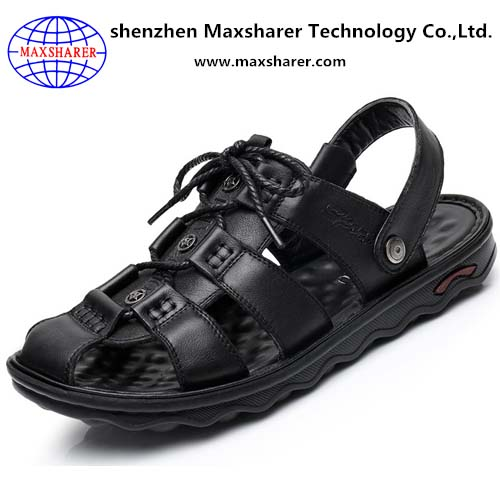 2017 beach summer hot selling PU rubber PVC men leather sandals