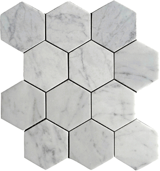 "Bianco Carrara White Marble 4"" Hexagonal Modern House Bathroom Design Tile"