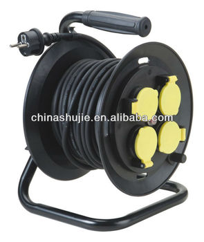 Spring loaded cable reel IP44 VDE plug German sockets Industrial French Cable Reel