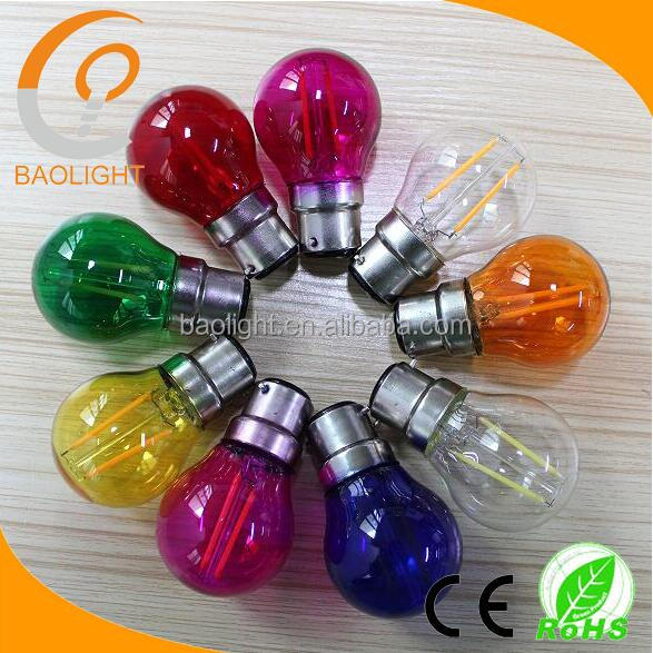 super bright christmas light led golfball bulb 2w BC/B22 E27 with translucent, clear, coloured glass