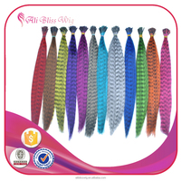 China Alibaba Wholesale Fake Colored Synthetic Fiber Feather Hair Extensions with Pink Striped Feather Hair