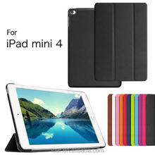 New arrival with folding and stand Leather skin Smart cover for ipad mini 4 case